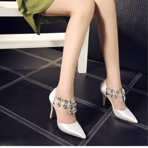 Women's White Rhinestone T-strap Stiletto Heels Wedding Shoes