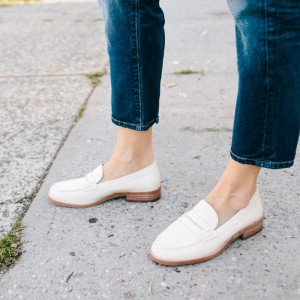 White Round Toe Vintage Flat Loafers for Women US Size 3-15