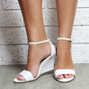 Women's White Wedge Sandals Open Toe Ankle Strap Sandals