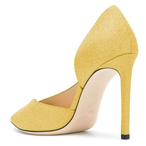 Women's Yellow Pointy Toe Stiletto Heels Glitter Shoes