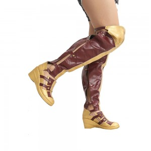 Wonder Woman Golden and Maroon Agraffe Wedge Heels Knee High Boots for Halloween