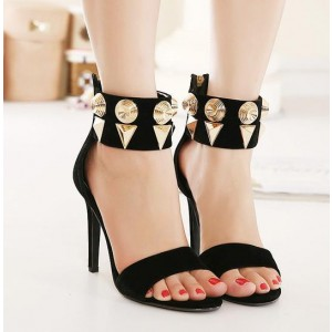 Women's Black With Metal Open Toe Ankle Strap Sandals