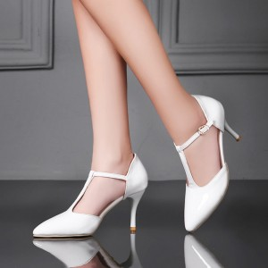 White T-Strap Pumps Pointy Toe Stiletto Heel Shoes for Women