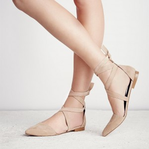 Women's Nude Dress Shoes Pointed Toe Ballet  Flats Strappy Shoes