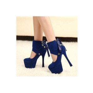 Navy Ankle Wrapped Spool Heel Pumps