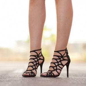 Leila Black Caged Sandals