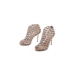 Women's Brown  Rhinestone Stiletto Heels Cage Bridal Sandals