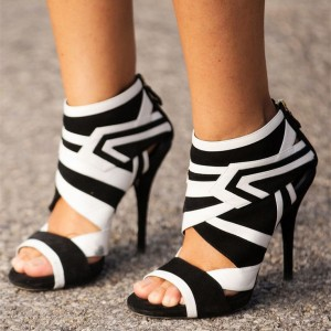 Women's Black and White Stiletto Heels Open Toe Zebra Elegant Ankle Booties