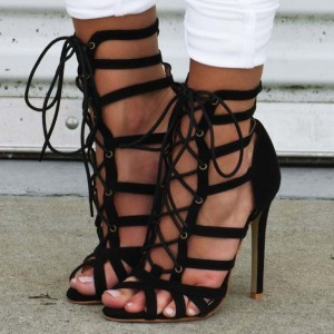 Black Strappy Sandals Sexy Lace up Stiletto Heels