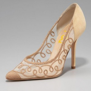 Beige Lace Heels Pointy Toe Stiletto Pumps for Prom