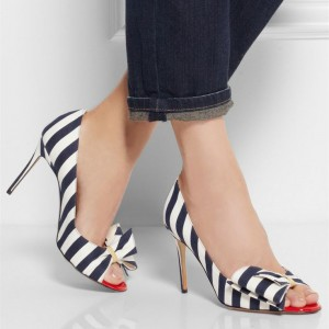 Navy and White Bow Heels Peep Toe Cute Stiletto Heel Pumps