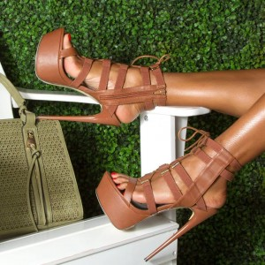 Women's Doris Brown Strappy Lace Up Heels Platform Stiletto Heel Sandals