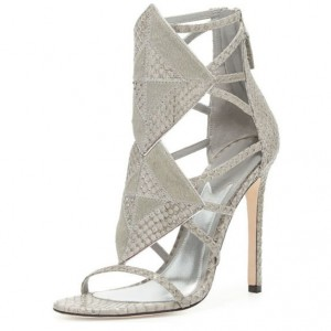 Grey Python Stiletto Heels Open Toe Hollow out Sandals