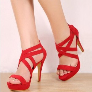 Red Platform Strappy Stiletto Heels Open Toe Suede Sandals For Party