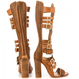 Tan Gladiator Sandals Open Toe Knee-high Chunky Heels with Buckles