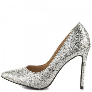 Silver Glitter Shoes Stiletto Heel Pointy Toe Sparkly Pumps