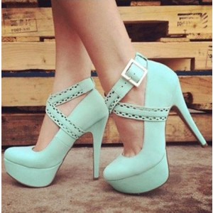 Women's Green Stiletto Heels Crossed-over Ankle Straps Platform Shoes