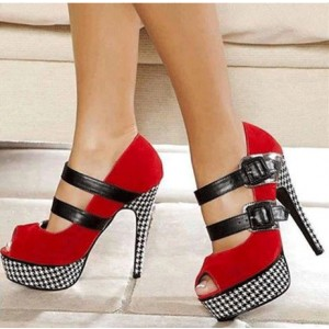 Red Platform Heels Houndstooth Suede Key Hole Pumps