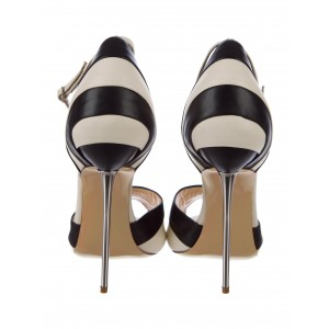 Women's Black and White Stiletto Heels Dress Shoes Stripes Ankle Strap Double D'orsay Pumps