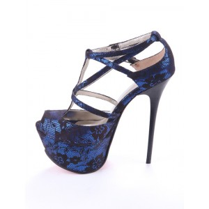Blue Lace Heels Peep Toe T Strap Platform Sandals for Prom