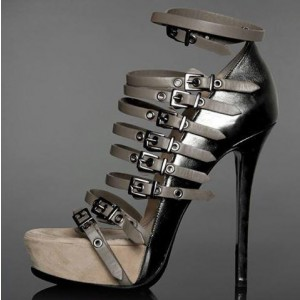 Women's Dark Grey Vintage Buckle Stiletto Heel Ankle Strap Sandals