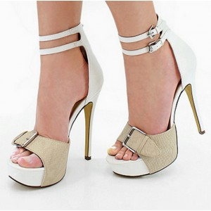White Ankle Strap Sandals Buckles Open Toe Stiletto Heels with Platform