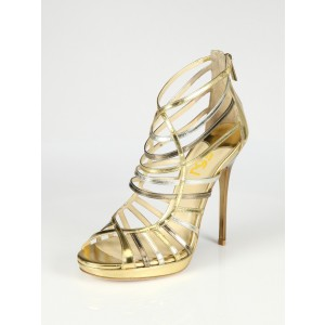 Gold Evening Shoes Strappy Sandals Open Toe Stiletto Heels