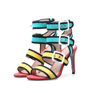 Multi-color Stiletto Heels Buckles Open Toe Suede Sandals