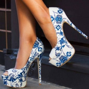 Blue Floral Heels Peep Toe Platform High Heels Pumps