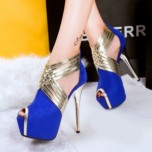 Esther Blue Peep Toe Platform Stiletto Heel Stripper Shoes