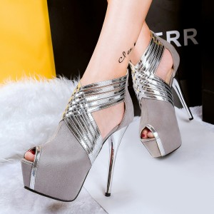Grey Stripper Heels Peep Toe Suede Platform Pumps