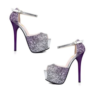 Gradient Purple Crystal Ankle Buckle Stiletto Pumps