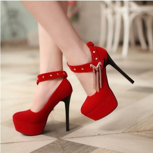 Women's Coral Red Ankle Buckle Stiletto Heel Pumps