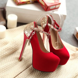 Coral Red Gold Ankle Buckle Stiletto Pumps with Platform shoes