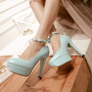 Women's Cyan Pearl Stiletto Heels Ankle Strap Platform Pumps For Party