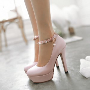 Nude Pink Ankle Strap Stiletto Pumps with Platform Shoes