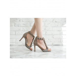 Women's Beige Rivets T-bar Stiletto Heel Ankle Strap Sandals