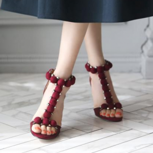 Women's Burgundy Stiletto Heels Open Toe Suede Ankle Strap Sandals with Rivets