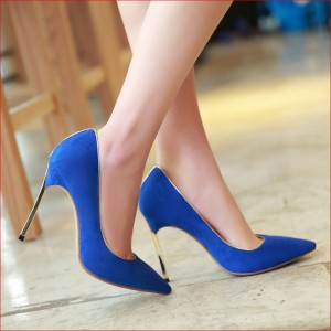 Royal Blue Heels Pointy Toe Suede Pumps Stiletto Heels