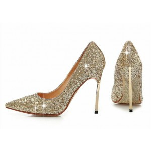 Gold Sparkly Heels Glitter Pointy Toe Stiletto Heels Pumps