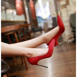 Coral Red Stiletto Heel Wedding Shoes