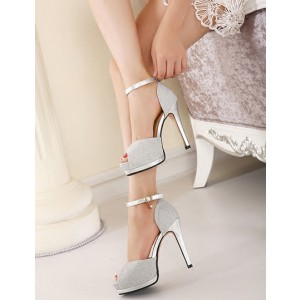 Women's Silver Buckle Stiletto Heels Peep Toe Ankle Strap Sandals
