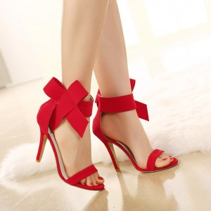 Coral Red Ankle Straps Bow Stiletto Heel Sandals