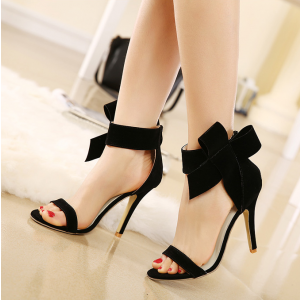 Black Evening Shoes Ankle Bow Prom Heels Open Toe Stiletto Heels Suede Sandals