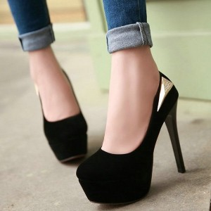 Black Golden Ornament Stiletto Pumps Platform Round toe Shoes