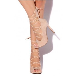 Beige Dress Shoes Strappy Heels Open Toe Suede Stiletto Heels Pumps