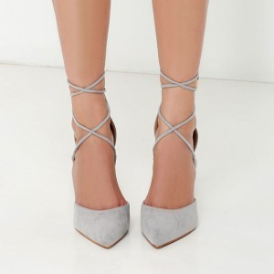 Grey Strappy Heels Closed Toe Stiletto Heel Pumps Suede Shoes