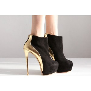 Women's Leila Black Gold Heels Almond Toe Platform Heels Ankle Booties