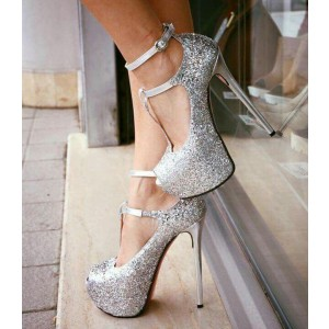Silver Glitter Shoes Ankle Strap Pumps T Strap Stiletto Heels with Platform