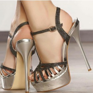 Silver Platform Sandals Stiletto Heels Open Toe High Heel Shoes